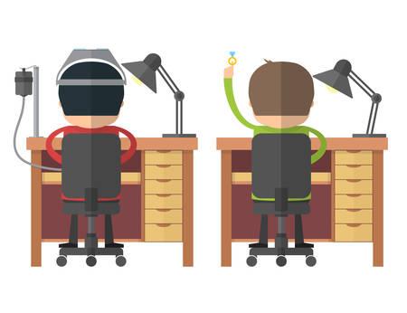 adept: The jewelers at work. Back view. Craftsmen at workbench. Vector illustration Illustration
