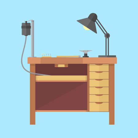 Jewellers workplace . isolated bench and tools.  Vector illustration Stock Photo