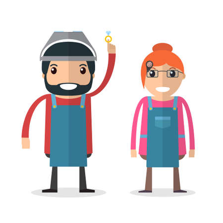 jeweller: Jeweller masters. Man and woman. Jeweler profession. Vector illustration Stock Photo
