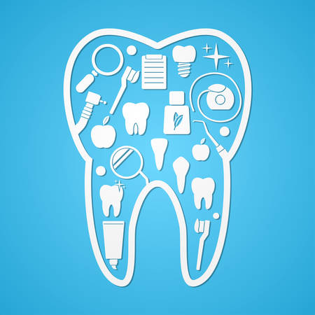 shilouette: Tooth hygiene and threatment symbols. Vector illustration