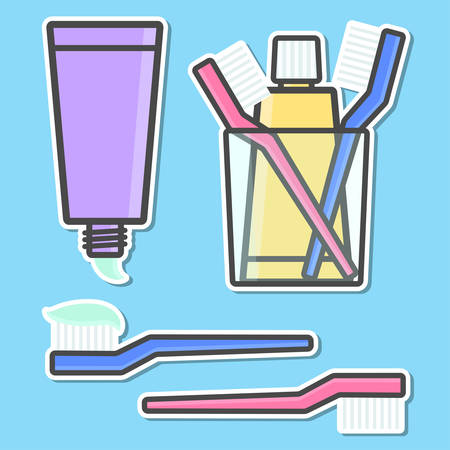 tidiness: Toothbrush and toothpaste isolated icons. Vector illustration
