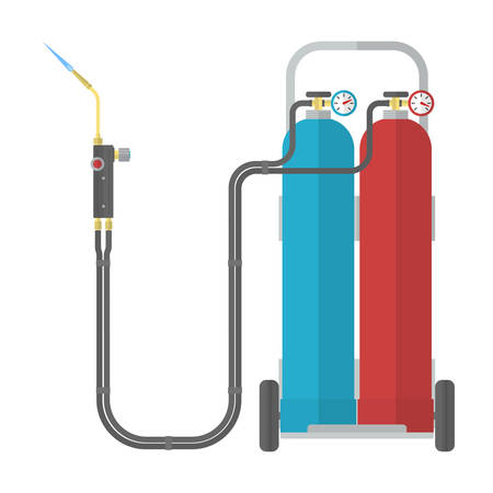 blowpipe: Oxy-fuel welding and cutting. Gas welding. Vector illustration