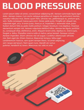 blood pressure monitor: Medical flyer design template. Blood pressure monitor on hand. Isometric vector illustration