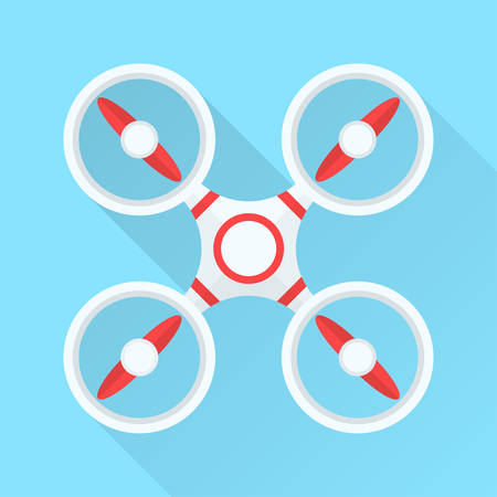 remote view: Quadcopter drone in top wiew. Flat design. Vector illustration.