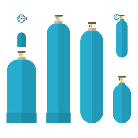 compressed gas: Oxygene tank. Blue gas tanks set. Flat vector illustration