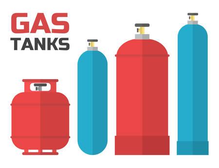 dangerous work: Gas tanks set. Various gas tanks in flat style. Vector illustration