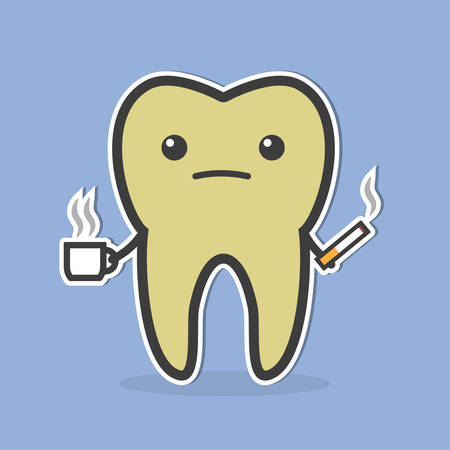 odontolith: Sad dark tooth with coffee and cigarette. Good for teeth whitening and bleaching concept. Vector illustration