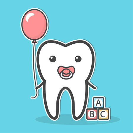 Babytooth with soother and balloon. Vector illustration