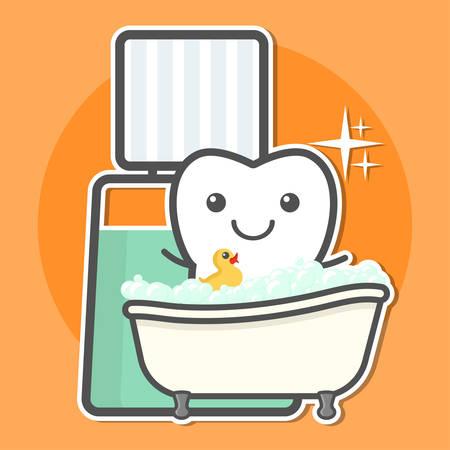 gargle: Tooth take a bath of mouthwash. Teeth hygiene concept. Dental vector illustration. Illustration