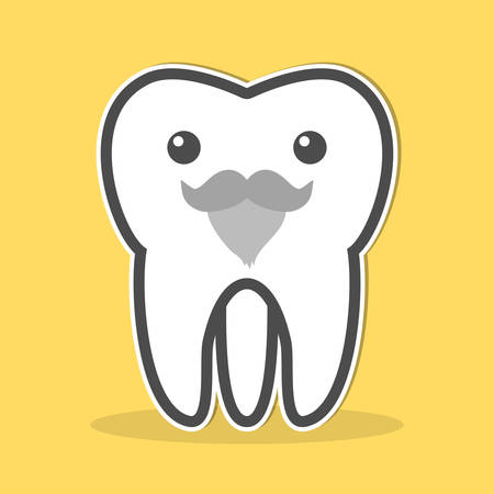 gray beard: Wisdom tooth with a gray beard and mustache. Vector illustration