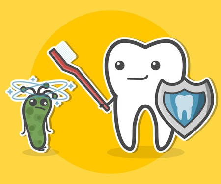 bacteria cartoon: Tooth with toothbrush and shield and prostrate bacterium. Teeth hygiene concept. Dental vector illustration. Illustration