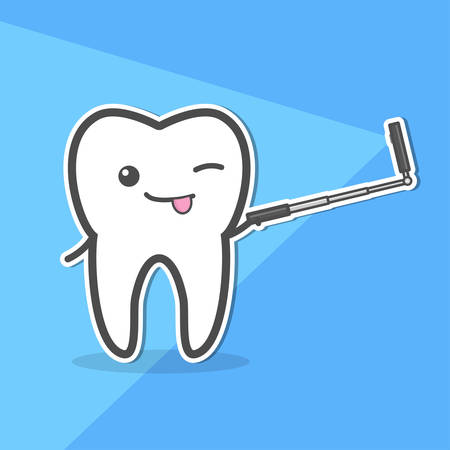 child tongue: Healthy tooth makes selfie at smartphone on monopod. Vector illustration