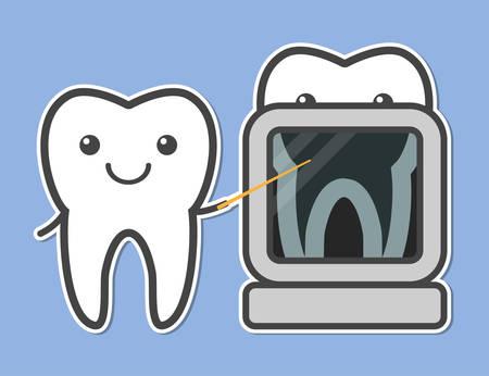niños con pancarta: Dos dientes demostraron de rayos X. ilustración vectorial Dental