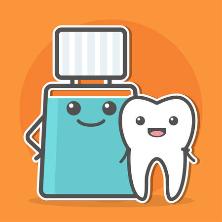 gargle: Mouthwash hugs tooth. Teeth hygiene concept. Dental vector illustration.