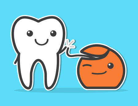 high five: Tooth and dental floss are friends. High five. Dental hygiene concept. Funny vector illustration