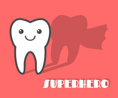 brave: Cartoon tooth with superhero shadow. Vector illustration Illustration