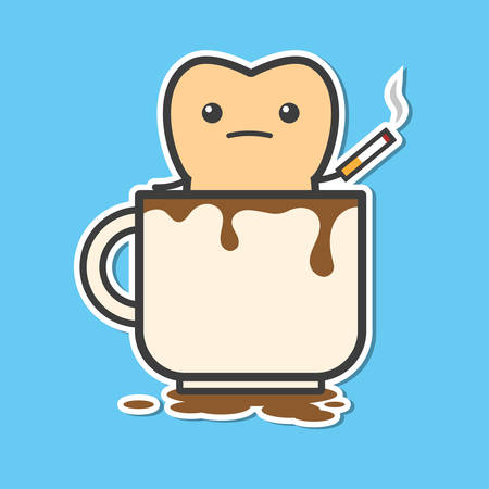 malos habitos: Diente en la taza de café con el cigarrillo. El café y el cigarrillo hace que los dientes de color amarillo. Ilustración divertida del vector
