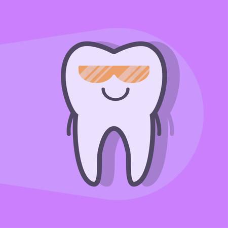 uv: Ultraviolet teeth whitening concept. Tooth under UV light. Dental vector illustration Illustration