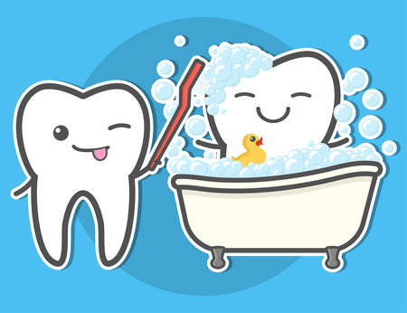 Tooth brushing toth in the bath. Teeth hygiene concept. Dental vector illustration.