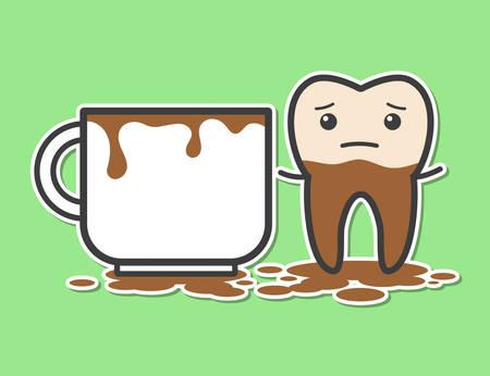dientes sucios: Diente y taza de café. Café hace que los dientes de color amarillo. Ilustración divertida del vector