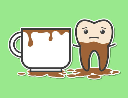 dirty teeth: Tooth and cup of coffee. Coffee makes your teeth yellow. Funny vector illustration