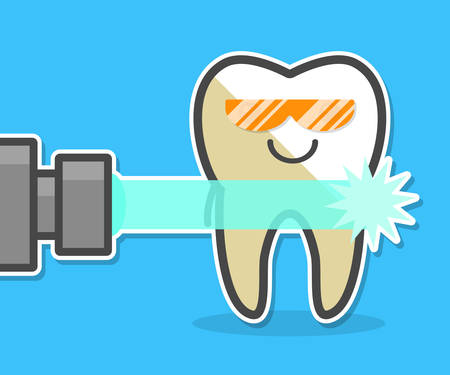 Laser teeth whitening concept. Laser ray and tooth. Dental vector illustration