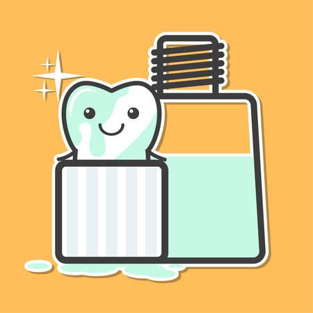 enjuague bucal: el lavado de dientes en el enjuague bucal. concepto de higiene oral. Ilustración divertida del vector