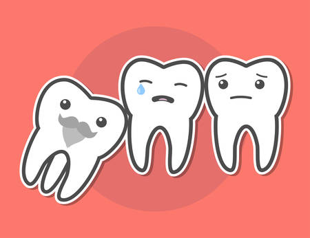 causes: Wisdom tooth causes pain concept. Toothache. Dental vector illustration