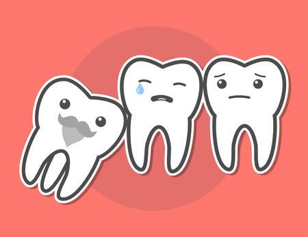 Weisheitszahn verursacht Schmerzen Konzept. Zahnschmerzen. Dental Vektor-Illustration