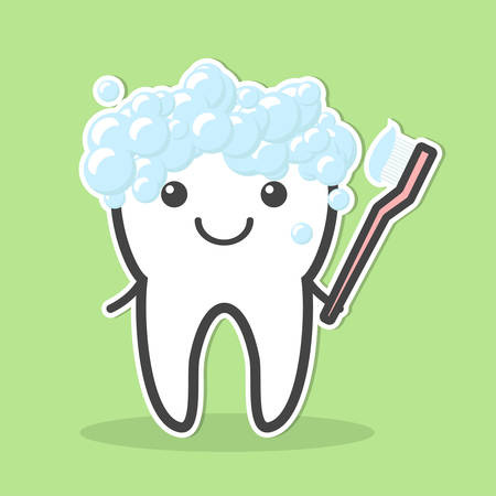 foam bubbles: Tooth and toothbrush.Tooth crown in foam bubbles. Teeth hygiene. Vector illustration Illustration