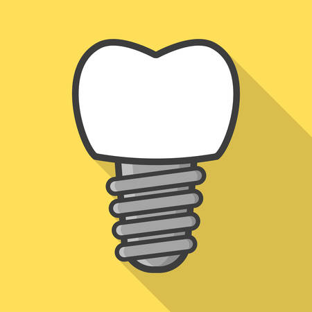 Dental implant in flat style. Tooth implant. Vector illustration Иллюстрация