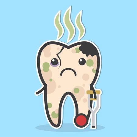 niños malos: los dientes saludables. diente roto con caries, púlpito, caries y mal olor. concepto diente enfermo