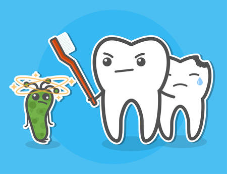 Tooth with toothbrush defend bitten little tooth against of bacterium. Teeth hygiene concept. Dental vector illustration. Illustration
