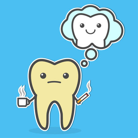 Sad yellow tooth with coffee and cigarette remembers he was before. Teeth whitening and bleaching concept. Vector illustration
