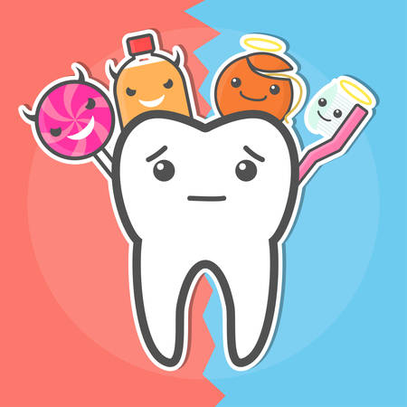 evil: Good and evil. Sweets versus hygiene concept. Dental vector illustration