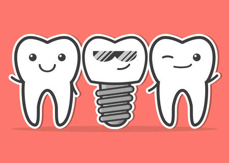 Cartoon dental implant and teeth. Smiling teeth and dental implant. Funny vector illustration