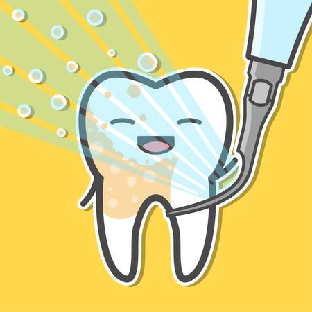 Ultrasonic scaler and tooth. Tartar removal concept. Dental vector illustration Illustration