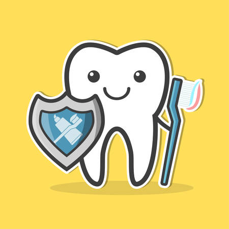 carious cavity: Tooth with shield and toothbrush. Teeth protection concept. Vector illustration