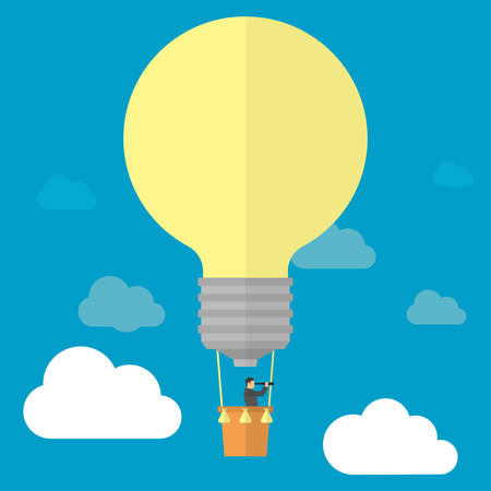 Businessman watching trough telescope in hot air balloon-lightbulb in the sky. Good idea-successful business concept. Vector illustration
