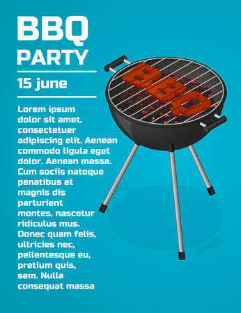 sear: BBQ Party invitation background. Barbecue grill brochure template. Roast beef steak on charcoal. Sear meat. Cooking. Isometric vector illustration