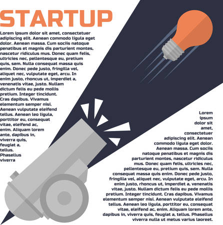 Lightbulb shot out of a cannon. Idea. Successful start up concept. Vector illustration