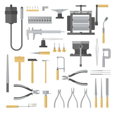 Set of jewelry tools. Goldsmith. Jewelers accessories. Vector illustration