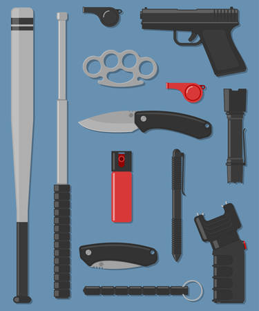 self defense: Set of self defense and street weapon. Vector illustration Illustration