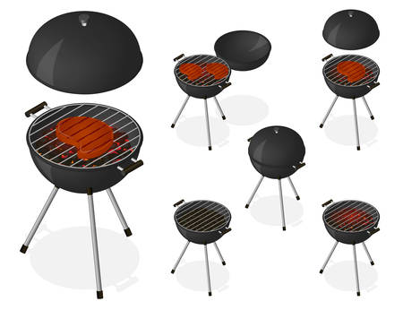 sear: BBQ. Opened and closed barbecue grill set. Roast beef steak on charcoal. Sear meat. Cooking. Isometric vector illustration Illustration