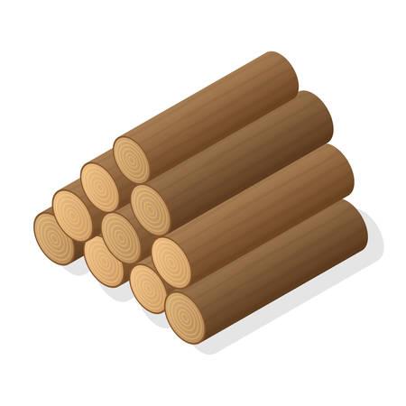 Stapel von Brennholz. Logs von Holz. Isometrische Vektor-Illustration.