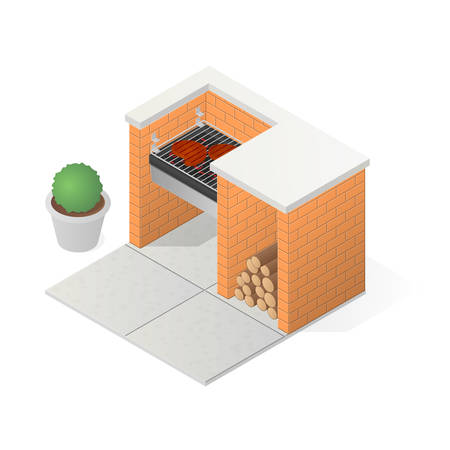 ember: Brick BBQ grill. Grilling meat steak. Isometric vector illustration