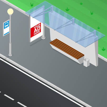 shelter: Bus shelter. Bus stop includes bench, trash can, advertise billboard and lamp. Isometric vector illustration
