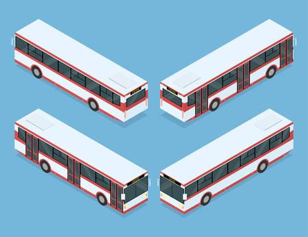 commute: City bus. Public transport. Four views. Isometric vector illustration