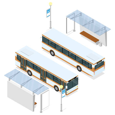 Bus and bus shelter. Both sides views. Isometric vector illustration isolated on white.