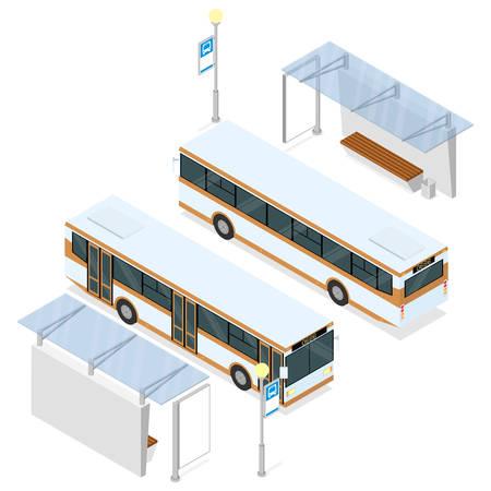 Bus en bushokje. Beide zijden uitzicht. Isometrische vector illustratie geïsoleerd op wit.